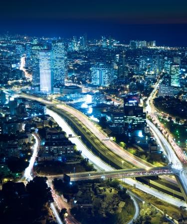 Night city, Tel Aviv at night, Crossroad Traffic photo