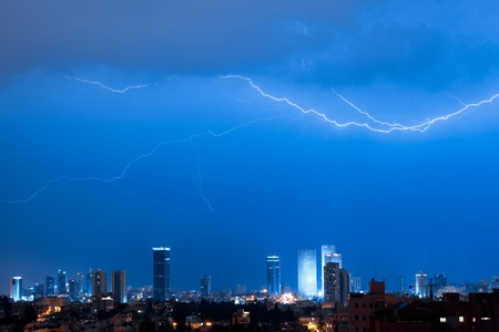 Panorama of the Tel Aviv with lightning over a city Stock Photo - 13647187