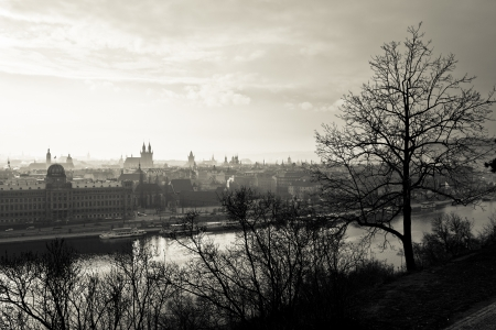 Prague at sepia photo