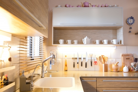 Luxury kitchen with marble elements