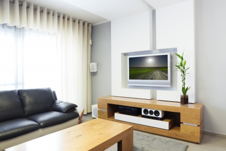 Modern room with plasma tv  Stock Photo - 14447197