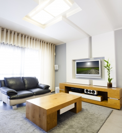 showcase interior: Modern room with plasma tv   This image was taken from two different shots Stock Photo
