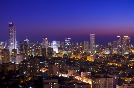 office building exterior: Tel Aviv and Ramat Gan Skyline at sunset