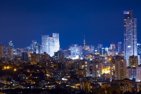 Tel Aviv and Ramat Gan Skyline at night photo