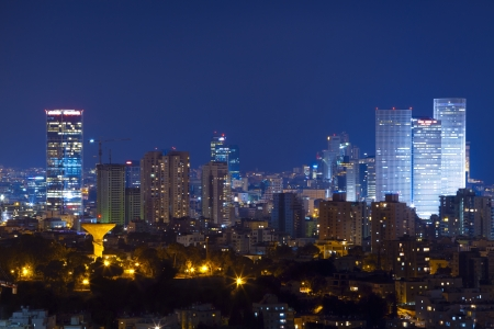 Tel Aviv Skyline at night Banco de Imagens