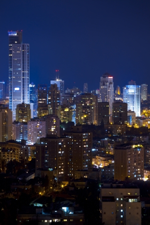 Tel Aviv and Ramat Gan Skyline at night photo