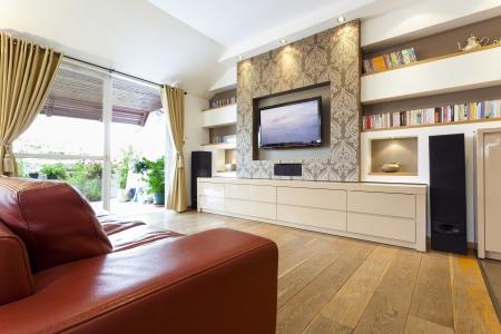 speakers: Modern room with plasma tv