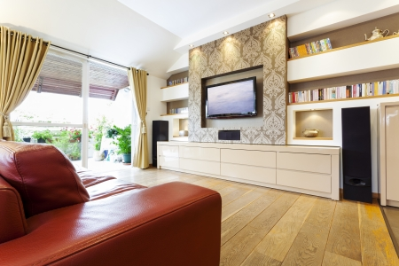 Modern room with plasma tv  photo