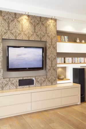 Moderne Zimmer mit Plasma-TV Standard-Bild - 14447222