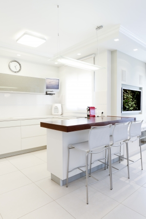 Modern design kitchen with white elements photo