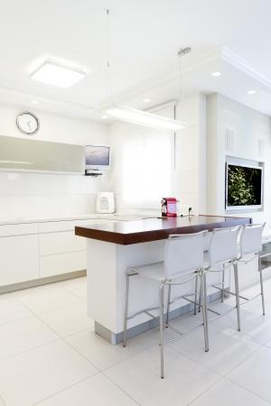 Modern design kitchen with white elements Stock Photo - 14447186