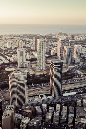 Tel Aviv at sunset, Ramat Gan Exchange District  photo
