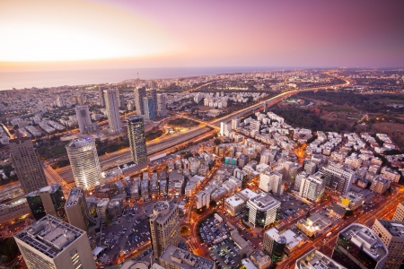 Tel Aviv at sunset, Ramat Gan Exchange District  Stock Photo