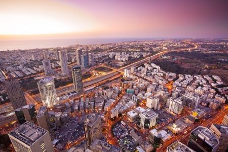 ramat aviv: Tel Aviv at sunset, Ramat Gan Exchange District  Stock Photo