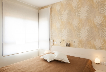 Modern luxury bedroom with wallpaper /  Hotel Room Stock Photo - 14447221