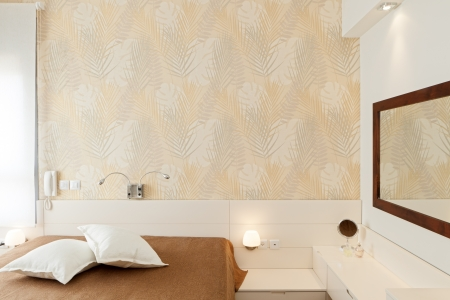 Modern luxury bedroom with wallpaper   Hotel Room Reklamní fotografie