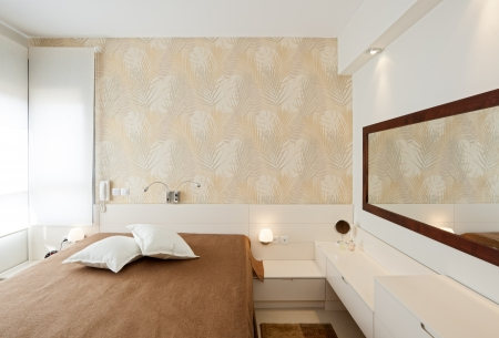 Modern luxury bedroom with wallpaper   Hotel Room photo