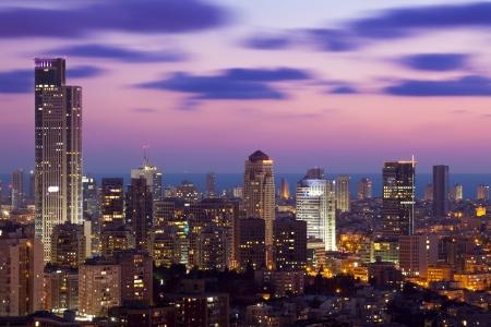 ramat aviv: Tel Aviv and Ramat Gan Skyline at sunset