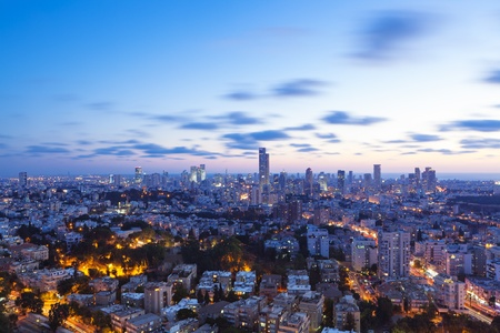 Tel Aviv and Ramat Gan Skyline at sunset photo