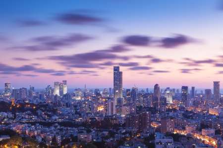 and israel: Tel Aviv and Ramat Gan Skyline at sunset