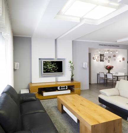Modernes Zimmer mit Plasma-TV Hinweis für Gutachter Originalformat in der TV-Bildschirm wurde von einem meiner Bilder ersetzt Dieses Bild aus zwei verschiedenen Schüsse genommen wurde Standard-Bild - 15474284