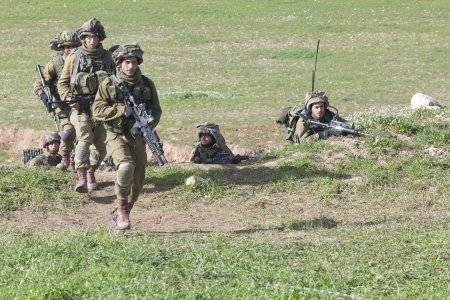 troop:  Israel - February 02, 2012; Israeli Paratroopers brigade during training Israel Defense Forces