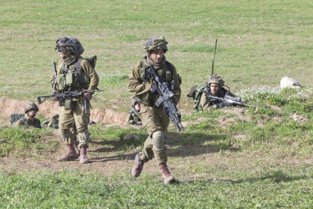 military training:  Israel - February 02, 2012; Israeli Paratroopers brigade during training Israel Defense Forces