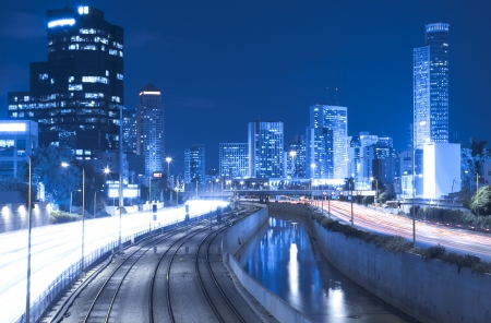 ramat aviv:  Tel Aviv Cityscape - Traffic on Ayalon Freeway Stock Photo