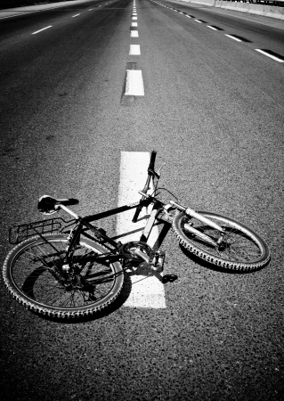 accident:  Breakdow - Bicycle on Road Black And White Photography