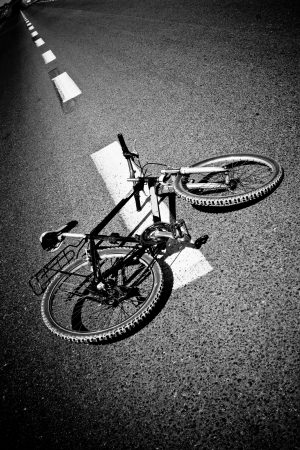 Breakdow - Bicycle on Road Black And White Photography Stock Photo - 19900329
