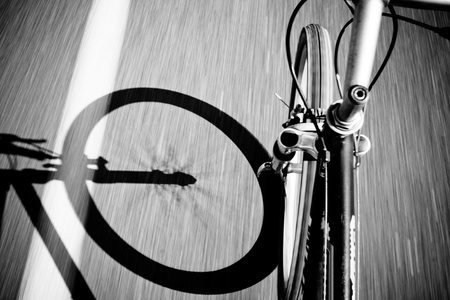 Breakdow - Bicycle on Road Black And White Photography Stock Photo - 19900181