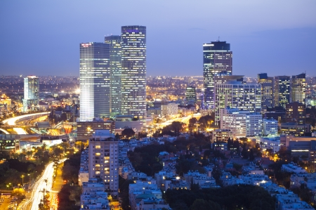 Tel Aviv and Ramat Gan Skyline at sunset Stock Photo - 19900359