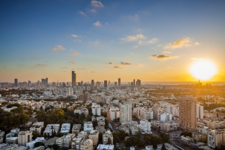 Tel Aviv and Ramat Gan Skyline at sunset Stock Photo - 19900353