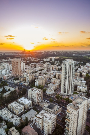 Tel Aviv and Ramat Gan Skyline at sunset Stock Photo - 19890276