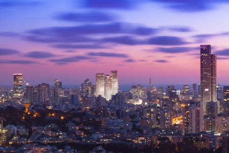 Tel Aviv and Ramat Gan Skyline at sunset Stock Photo - 19900313