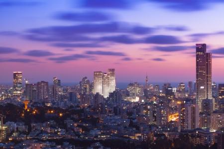 tel aviv: Tel Aviv and Ramat Gan Skyline at sunset
