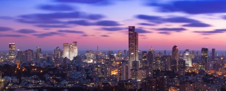 Tel Aviv and Ramat Gan Skyline at sunset Stock Photo - 19900351