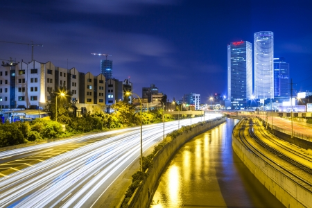 Tel Aviv Cityscape - Traffic on Ayalon Freeway Stock Photo - 20215217