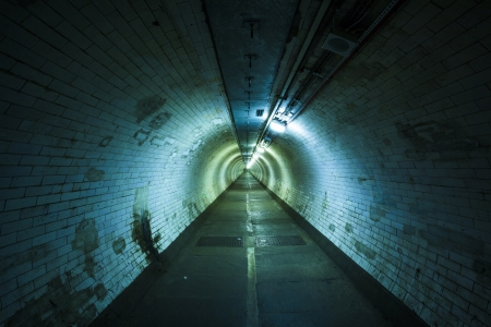 Empty tunnel at night - Light at the end of  tunnel  Stock Photo - 20215215