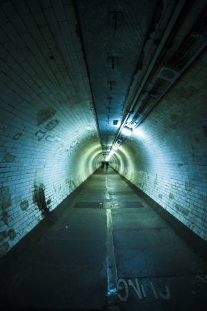 Empty tunnel at night - Light at the end of  tunnel Stock Photo - 20215225