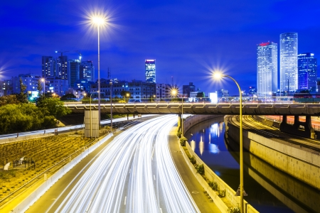 Tel Aviv Cityscape - Traffic on Ayalon Freeway Stock Photo - 20215250