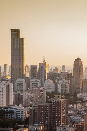 Tel Aviv and Ramat Gan Skyline at sunset photo