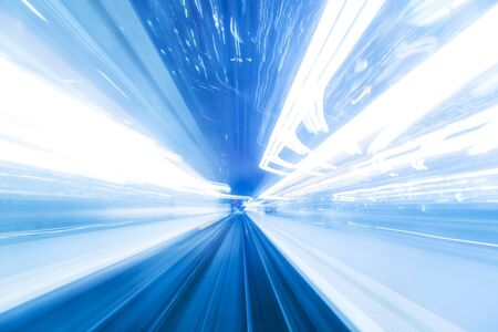 Speed motion at night in blue light Stock Photo - 20434567