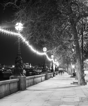 Night street in London at Black and White Color, Britain