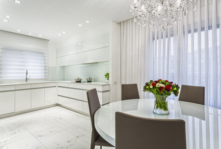 architectural lighting design: Luxury Design Of  Dining Room And Kitchen - Whait Color