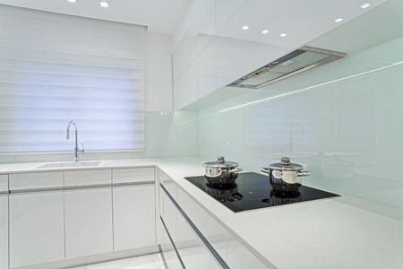 Modern Luxury White  kitchen    Stock Photo