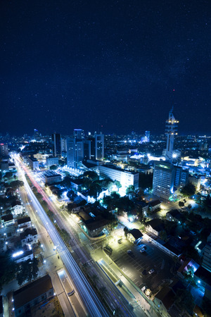 The night Tel Aviv city under Starry Sky - View of Tel Aviv at night - City at Blue . photo