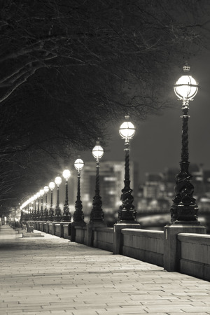 Night street in London at Sepia Color, Britain Shallow Focus Stock Photo