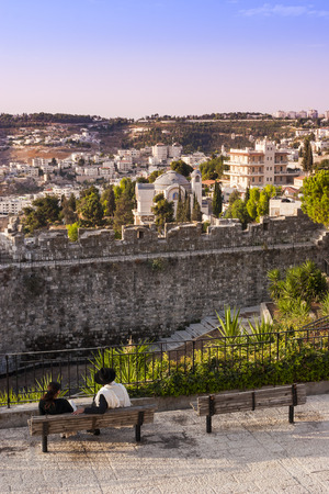 old city: Young Orthodox Jewish couple in Old City, Jerusalem, Israel Editorial