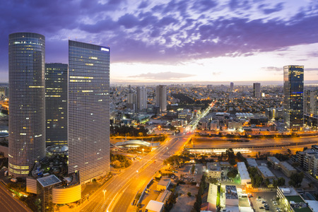 night view: Tel Aviv cityscape - View of Tel Aviv at Sunset